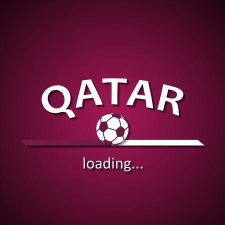 Qatar voetbal loading bar - voetbal inscriptie voor het Wereldkampioenschap en de plaatselijke eredivisie Stockfoto - 82821467