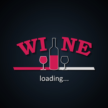 Wine loading background with half wine bottle and glasses