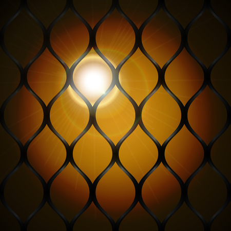 Sunlight at sunset behind bars background