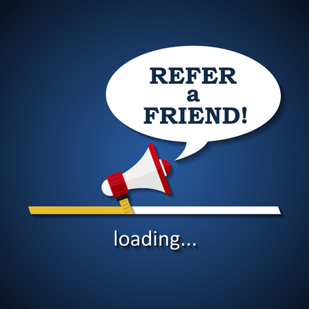Refer a friend - loading bar with megaphone - business advertising marketing template background Ilustração