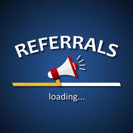 Referrals loading bar with megaphone - business advertising marketing template background Illusztráció