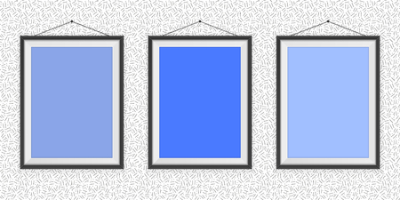 Different Types Of Blue Photo Frames On The Wall Background
