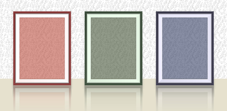 mirror frame: Different types of photo frames on the wall with reflection- background template Illustration