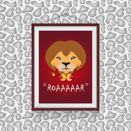 Roar like a lion - a cute lion scene in a photo frame hanged on the wall
