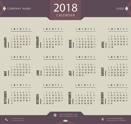 planner: 2018 calendar, planner, organizer and schedule template for business and private use Illustration