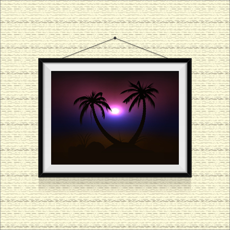 Sunset on the beach with palm trees in photo frame hanged on the wall Ilustracja