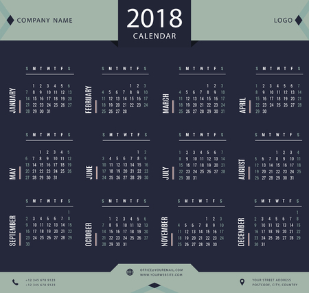 event planner: 2018 calendar, planner, organizer and schedule template for business and private use Illustration