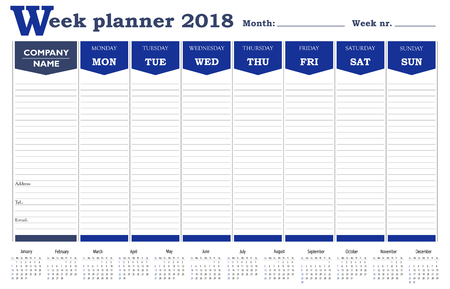 Week planner 2018 calendar, schedule and organizer for business and private use Illustration