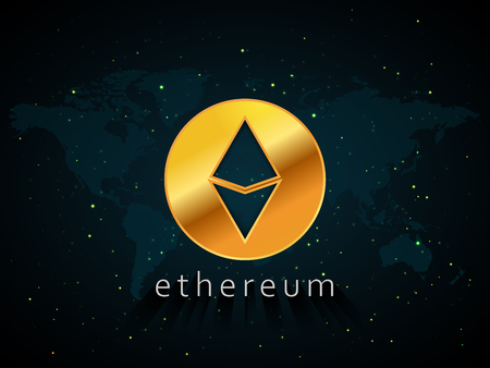 Golden Ethereum currency illustration based on world map and space with stars background Vector Illustration