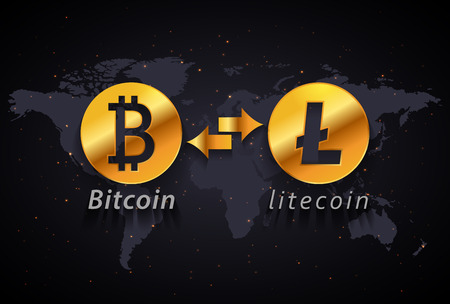 Bitcoin to Litecoin currency exchange infographic template on world map background