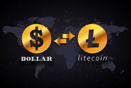 American Dollar to Litecoin currency exchange infographic template on world map background Иллюстрация