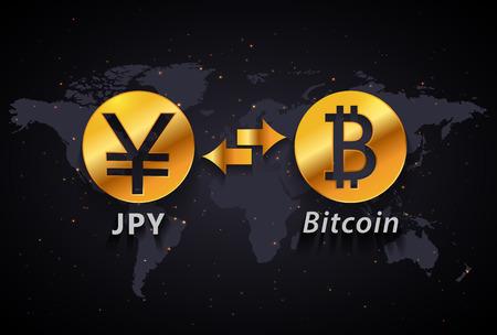 일본 엔에서 Bitcoin 통화 교환 infographic 템플릿 세계지도 배경 일러스트