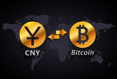 Chinese Yuan to Bitcoin currency exchange infographic template on world map background