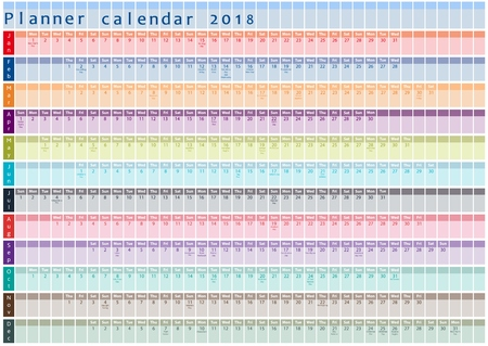 2018 Planner calendar, organizer and schedule with holiday days posted inside