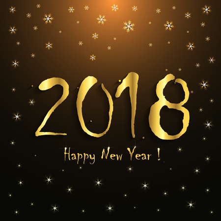 2018 Happy New Year! - greeting card template - golden snowflakes design