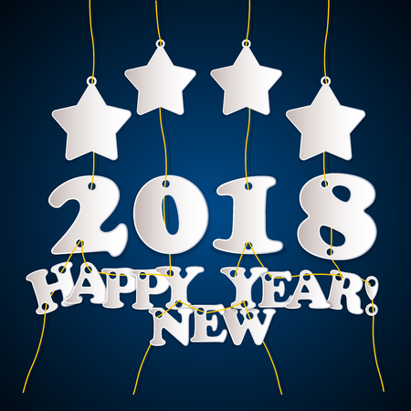 2018 Happy New Year! - greeting card template with stars-