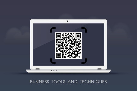 Business tools and techniques - QR Codes on laptop Illustration
