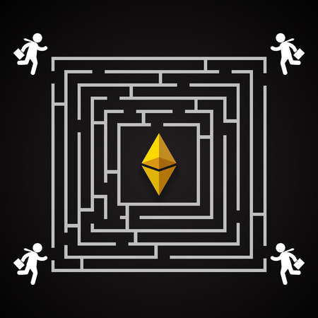 Ethereum square labirynth - businessman run to collect ethereum - who will find it? Illustration