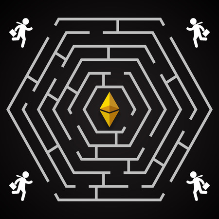 Ethereum hexagonal labirynth - businessman run to collect ethereum - who will find it. Illustration