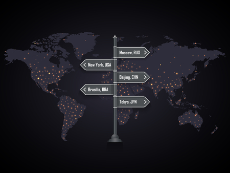 Road city signpost on the world map with city lights