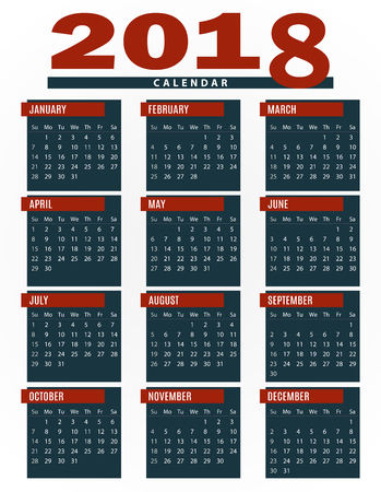 Simple 2018 company calendar template for commercial and private use