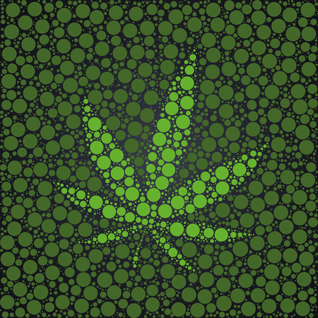 Cannabis leaf made with green dots background template