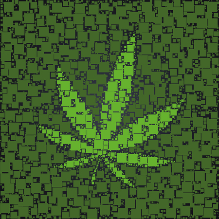 Cannabis leaf made with green squares background template