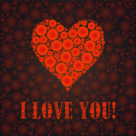I love you text and heart sign, designed with dots