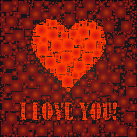 I love you text and heart sign, designed with squares