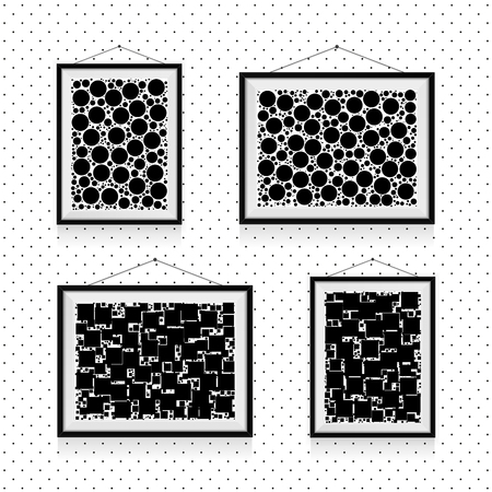 Different types of simple photo frames with circles and squares on the wall - black and white background template Illustration