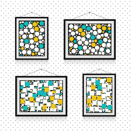 Different types of photo frames with circles and squares on the wall - background template