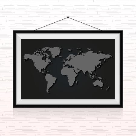 壁にぶら下がったフォトフレームの世界地図