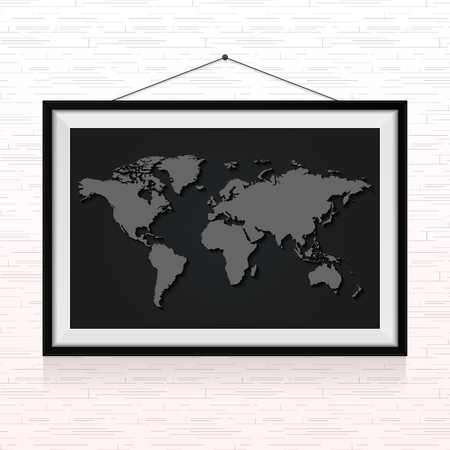 World map in the photo frame hanged on the wall