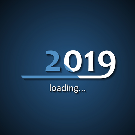 Loading 2019 inscription bar - flat design template, blue edition Illustration