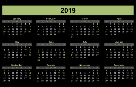 2019 Planner calendar, schedule and organizer for companies and private use