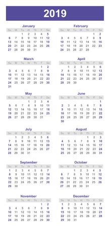 Bookmark style 2019 calendar, planner organiser and schedule