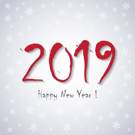2019 Happy New Year! - greeting card template - white snowflakes design