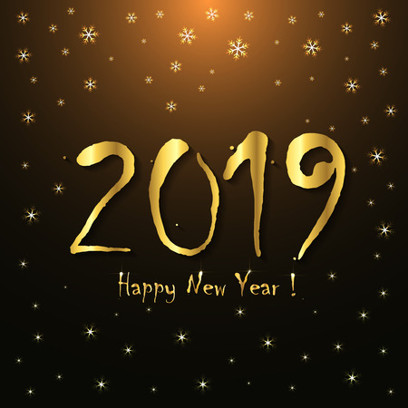 2019 Happy New Year! - greeting card template - golden snowflakes design Illustration