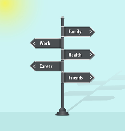 Personal goals infographic template with work, career, family, health, friends options