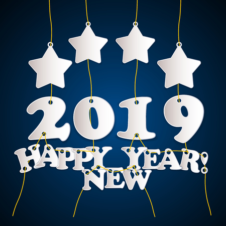 2019 Happy New Year! - greeting card template with stars- blue and white edition