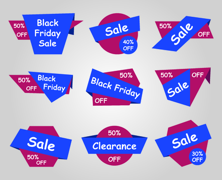 Black Friday sale labels - different type stickers Illustration