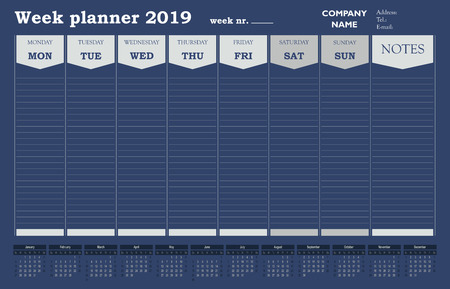 Week planner 2019 calendar, schedule and organizer for companies and private use