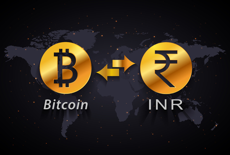 Indian rupee to Bitcoin currency exchange infographic template on world map background