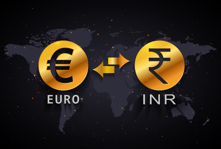 Indian Rupee to Euro currency exchange infographic template on world map background Illustration