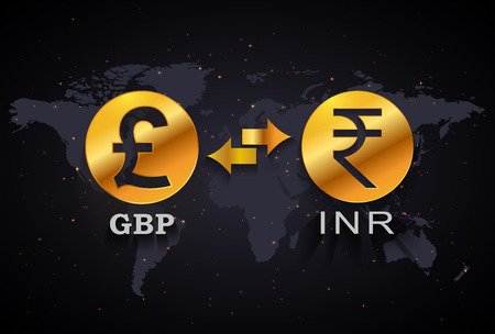 Indian Rupee to Pound currency exchange infographic template on world map background