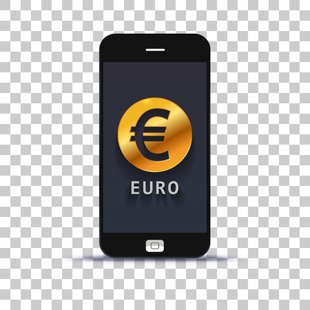 Euro exchange application for mobile pone pasted on photo paper