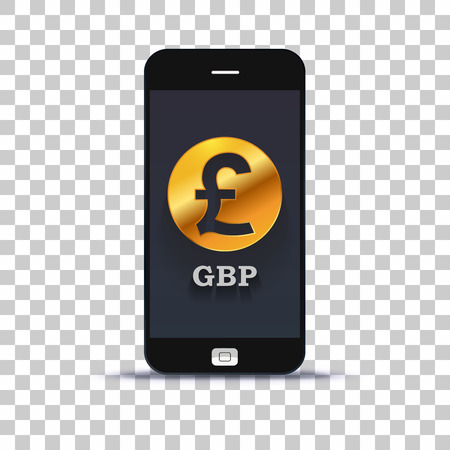 Great Britain pound exchange application for mobile pone pasted on photo paper Illustration