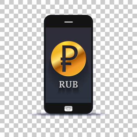 Russian rubel exchange application for mobile pone pasted on photo paper Illustration