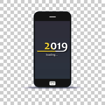 Load year 2019 in mobile phone pasted on photo paper background Illustration