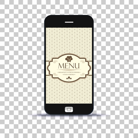 Restaurant menu application on mobile phone pasted on photo paper